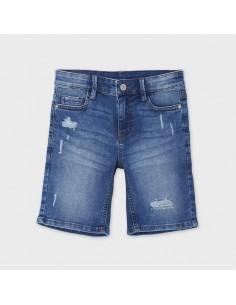 Bermudy jeans przetarcia