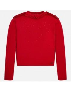 Sweter z falbankami strass