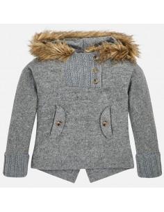 Sweter z kapturem futerkowym