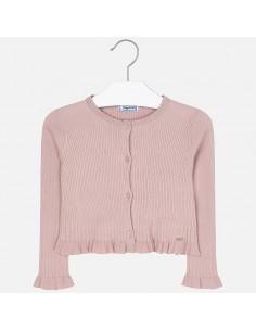 Sweter rozpinany z falbanką