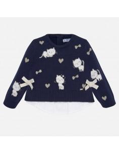 Sweter intarsja z łączeniami