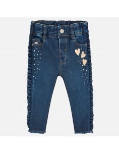 Spodnie jeans falbanki