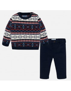 Komplet sweter żakard