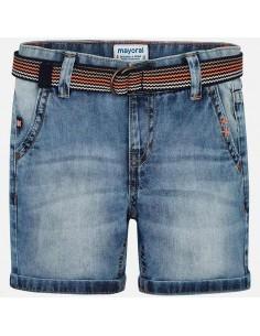 Bermudy jeans z paskiem