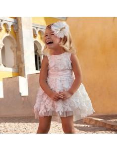 Sukienka z tiulem kwiaty 3D
